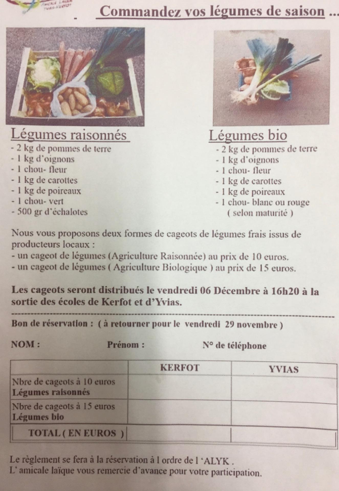 Commandez vos legumes de saison